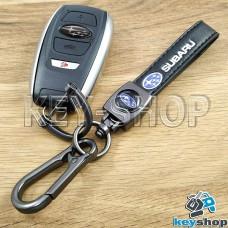 Брелок ключа Субару (Subaru) кожаный (черный) с карабином