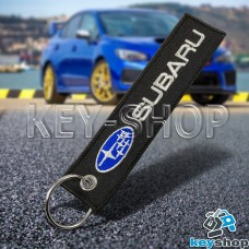 Брелок для ключа Subaru (Субару), черный, с кольцом (текстиль)