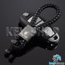 Кожаный плетеный (черный) брелок для авто ключей Сузуки (Suzuki)