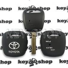 Чехол (силиконовый) для авто ключа Toyota (Тойота) 2 кнопки (черный)
