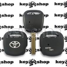 Чехол (силиконовый) для авто ключа Toyota (Тойота) 1 кнопка (черный)