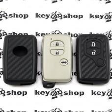 Чехол (силиконовый, под карбон) для смарт ключа Toyota (Тойота)