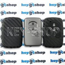 Чехол на смарт ключ Тойота (Toyota), (черный, силиконовый, под карбон) 3 кнопки
