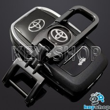 Брелок для ключа Toyota (Тойота), (темный хром), с карабином