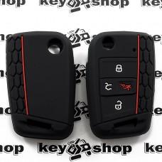 Чехол (черный, силиконовый) для выкидного ключа Volkswagen (Фольксваген) 3 + 1кнопки