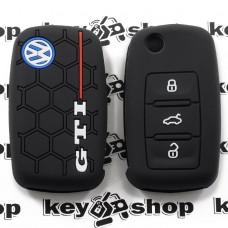 Чехол (черный, силиконовый) для выкидного ключа VOLKSWAGEN GTI (Фольксваген) 3 кнопки