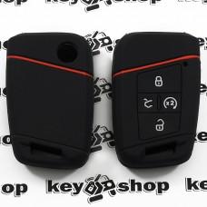Чехол (черный, силиконовый) для смарт ключа Volkswagen (Фольксваген) 4 кнопки
