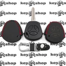 Кожаный чехол (с красной строчкой), для выкидного ключа Vaz (Ваз) 3 кнопки