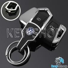 Металлический брелок для авто ключей Volkswagen (Фольксваген) с карабином и кожаной вставкой