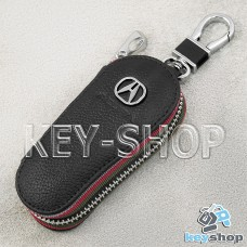Ключница карманная (кожаная, черная, на молнии, с карабином, с кольцом), логотип авто Acura (Акура)