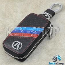 Ключница карманная (кожаная, черная, под карбон, на молнии, с карабином, с кольцом), логотип авто Acura (Акура)