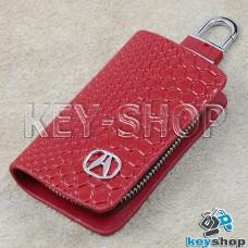 """Ключница карманная (красная, """"змеиная кожа"""", на молнии, с карабином, с кольцом), логотип авто Acura (Акура)"""