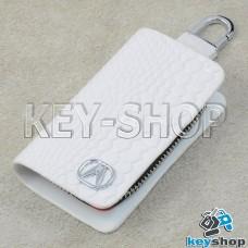 """Ключница карманная (белая, """"змеиная кожа"""", на молнии, с карабином, с кольцом), логотип авто Acura (Акура)"""