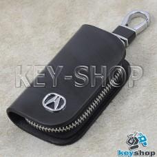 Ключница карманная (кожаная, черная, с узором, на молнии, с карабином, с кольцом), логотип авто Acura (Акура)