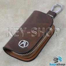 Ключница карманная (кожаная, коричневая, с узором, на молнии, с карабином, с кольцом), логотип авто Acura (Акура)