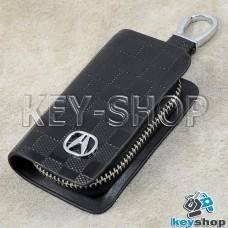 Ключница карманная (кожаная, черная, с тиснением, на молнии, с карабином, с кольцом), логотип авто Acura (Акура)
