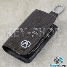 Ключница карманная (кожаная, коричневая, с тиснением, на молнии, с карабином, с кольцом), логотип авто Acura (Акура)
