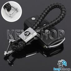 Кожаный плетеный (черный) брелок для авто ключей Acura (Акура)