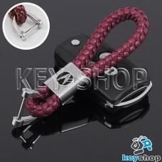 Кожаный плетеный (бордовый) брелок для авто ключей Acura (Акура)