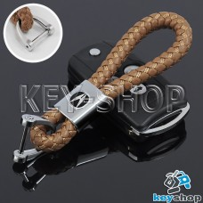 Кожаный плетеный (светло - коричневый) брелок для авто ключей Acura (Акура)