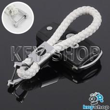 Кожаный плетеный (белый) брелок для авто ключей Acura (Акура)