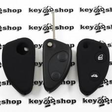 Чехол (черный, силиконовый) для выкидного ключа Alfa Romeo (Альфа Ромео) 2 кнопки