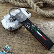 Брелок ключа Alfa Romeo (Альфа Ромео) кожаный, замшевый (черный) с карабином