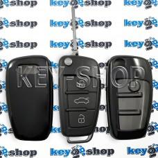 Чехол на ключ Audi (Ауди), (черный, полиуретановый для выкидного ключа), кнопки с защитой