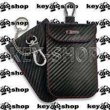 Чехол Фарадея, антисканер, противоугонный чехол Audi S Line (Ауди С Лайн) (кожаный, под карбон, черный, на липучке, с карабином, с кольцом)