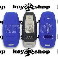 Чехол смарт ключа Audi (Ауди) A6, A8, Q5, Q7, Q8 (синий, силиконовый) 3 кнопки