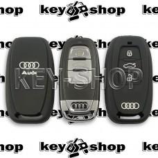 Чехол силиконовый смарт ключа Audi (Ауди) 3 кнопки (черный)