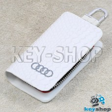 """Ключница карманная (белая, """"змеиная кожа"""", с карабином, с кольцом), логотип авто Audi (Ауди)"""