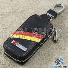 Ключница карманная (кожаная, черная, под карбон, с карабином, с кольцом), логотип авто Audi S - Line (Ауди С - Лайн)