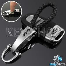 Кожаный плетеный (черный) брелок для авто ключей Audi (Ауди) с хромированым карабином