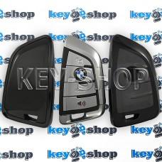 Чехол на смарт ключ BMW (БМВ), (черный, полиуретановый), кнопки c защитой