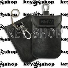 Чехол Фарадея, антисканер, противоугонный чехол BMW (БМВ) (кожаный, черный, на липучке, с карабином, с кольцом)