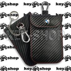 Чехол Фарадея, антисканер, противоугонный чехол BMW (БМВ) (кожаный, под карбон, черный, на липучке, с карабином, с кольцом)