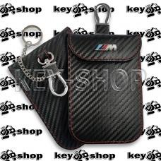 Чехол Фарадея, антисканер, противоугонный чехол BMW M3 (БМВ M3) (кожаный, под карбон, черный, на липучке, с карабином, с кольцом)