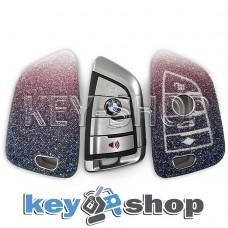 Чехол на смарт ключ BMW (БМВ), (перламутровый, полиуретановый), кнопки с защитой