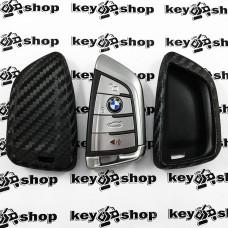 Чехол (силиконовый, под карбон) для смарт ключа BMW (БМВ)