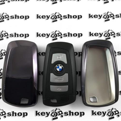Чехол (черный, полиуретановый) для смарт ключа BMW (БМВ), кнопки без защиты