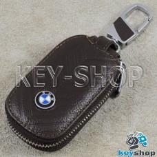 Ключница карманная (кожаная, коричневая, с тиснением, с карабином, на молнии, с кольцом), логотип авто BMW (БМВ)