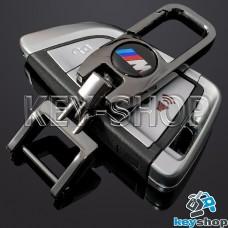 Брелок для ключа BMW M (БМВ М), (темный хром), с карабином