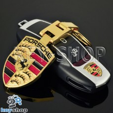 Золотистый брелок для авто ключей Порше (Porsche)