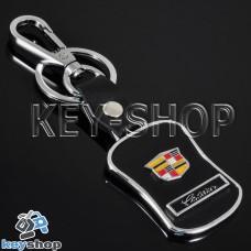 Металлический брелок с кожаными вставками для авто ключей CADILLAC (Кадиллак)