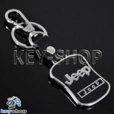 Металлический брелок с кожаными вставками для авто ключей Джип (Jeep)