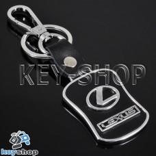 Металлический брелок с кожаными вставками для авто ключей LEXUS (Лексус)