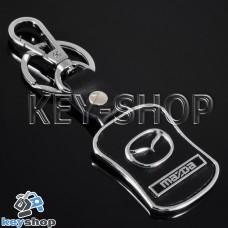 Металлический брелок с кожаными вставками для авто ключей  MAZDA (Мазда)