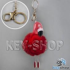 Красный пушистый меховой брелок фламинго, на сумку, рюкзак с кольцом и карабином