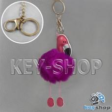 Фиолетовый пушистый меховой брелок фламинго, на сумку, рюкзак с кольцом и карабином